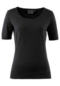 Czarny sweter bonprix z krótkim rękawem, krótki, z okrągłym kołnierzem
