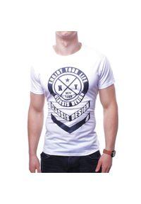 Biały t-shirt z nadrukiem Recea klasyczny, na co dzień