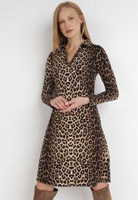 Born2be - Czarno-Beżowa Sukienka Artobe. Kolor: wielokolorowy, beżowy, czarny. Materiał: wiskoza, dzianina. Długość rękawa: długi rękaw. Długość: mini