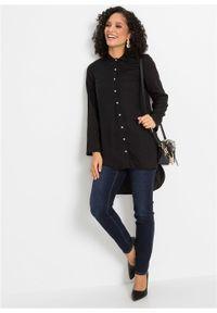 Czarna bluzka bonprix w koronkowe wzory, długa