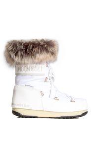 Białe buty zimowe Moon Boot z cholewką