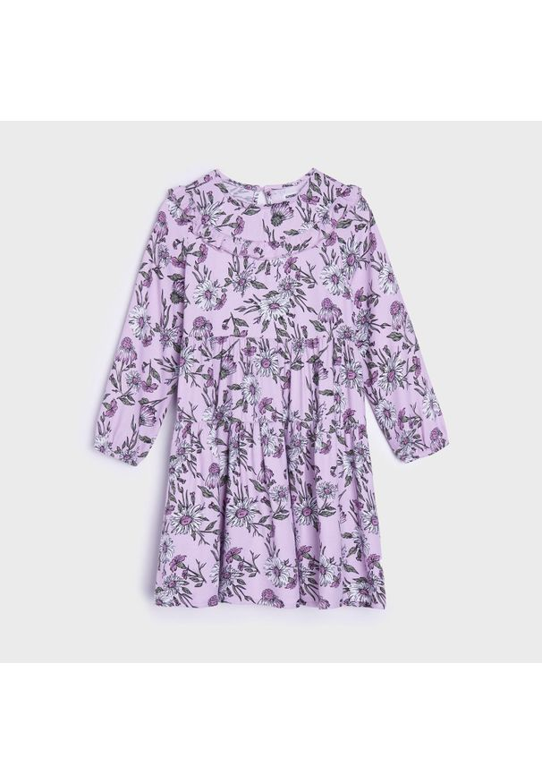 Sinsay - Sukienka z nadrukiem - Fioletowy. Kolor: fioletowy. Wzór: nadruk
