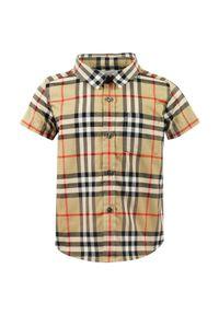 BURBERRY CHILDREN - Koszula w kratę 0-2 lata. Typ kołnierza: kołnierzyk klasyczny. Kolor: beżowy. Materiał: bawełna, materiał. Wzór: nadruk. Sezon: lato. Styl: klasyczny, elegancki