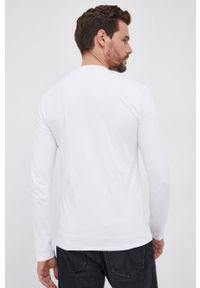 Guess - Longsleeve. Okazja: na co dzień. Kolor: biały. Materiał: bawełna. Długość rękawa: długi rękaw. Wzór: nadruk. Styl: casual