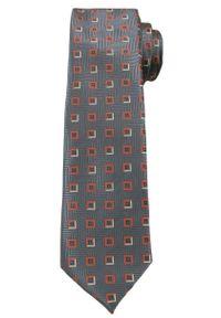Szary Elegancki Krawat w Kwadraty -Angelo di Monti- 6 cm, Męski, Wzór Geometryczny. Kolor: szary. Wzór: geometria. Styl: elegancki