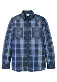 Niebieska koszula bonprix z długim rękawem, długa, z aplikacjami