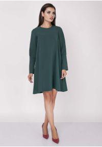 Zielona sukienka Nommo trapezowa, wizytowa