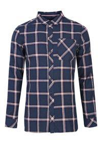 Niebieska koszula TOP SECRET długa, na co dzień, w kolorowe wzory