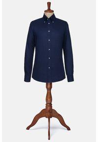 Lancerto - Koszula Granatowa Lniana Atlanta. Typ kołnierza: button down. Kolor: niebieski. Materiał: len. Styl: vintage, elegancki