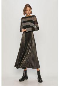 Szara sukienka AllSaints plisowana, z długim rękawem, midi