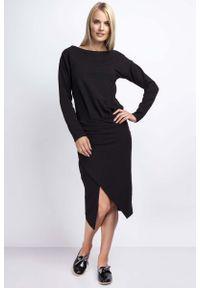 Nommo - Czarna Casualowa Midi Sukienka z Kopertowym Dołem. Okazja: na co dzień. Kolor: czarny. Materiał: bawełna. Typ sukienki: kopertowe. Styl: casual. Długość: midi