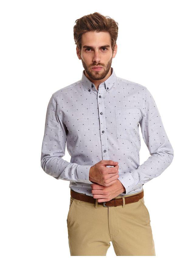 TOP SECRET - Koszula we wzór o kroju regular. Kolor: szary. Materiał: bawełna. Długość: długie. Sezon: zima. Styl: klasyczny