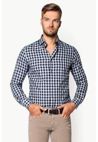 Lancerto - Koszula w Kratę Fuego. Okazja: na co dzień. Materiał: jeans, tkanina, dzianina, bawełna. Wzór: ze splotem, kratka. Styl: casual