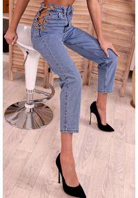 Niebieskie jeansy IVET z podwyższonym stanem, eleganckie, na co dzień