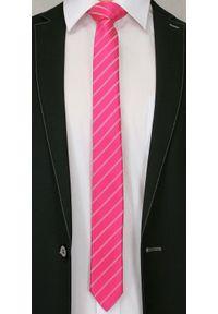 Alties - Różowy Stylowy Krawat (Śledź) Męski -ALTIES- 5 cm, Wąski, w Paski. Kolor: różowy. Materiał: tkanina. Wzór: prążki, paski. Styl: elegancki