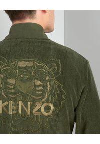 KENZO HOME - Szlafrok Iconic. Kolor: zielony. Materiał: bawełna. Wzór: haft
