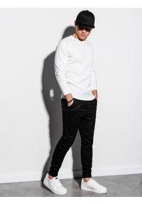 Ombre Clothing - Longsleeve męski bez nadruku L119 - biały - XXL. Kolor: biały. Materiał: tkanina, bawełna, poliester. Długość rękawa: długi rękaw