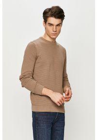 Brązowy sweter PRODUKT by Jack & Jones z okrągłym kołnierzem, na co dzień, casualowy