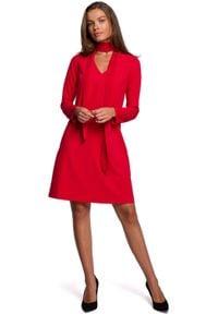 MOE - Trapezowa Sukienka z Szyfonowym Szalem - Czerwona. Kolor: czerwony. Materiał: szyfon. Typ sukienki: trapezowe