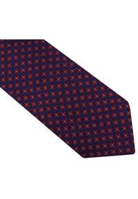 Modini - Granatowy krawat męski w czerwone kwiatki D107. Kolor: niebieski, czerwony, wielokolorowy. Materiał: tkanina, mikrofibra. Wzór: kwiaty