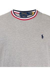 Ralph Lauren - RALPH LAUREN - Szara koszulka Slim Fit. Typ kołnierza: polo. Kolor: szary. Materiał: bawełna. Wzór: haft, kolorowy