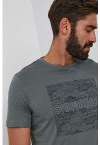 s.Oliver - s. Oliver - T-shirt bawełniany. Okazja: na co dzień. Kolor: zielony. Materiał: bawełna. Wzór: nadruk. Styl: casual