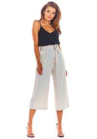 Beżowe spodnie z wysokim stanem Awama eleganckie