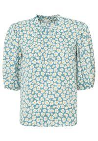 Bluzka z rękawami balonowymi bonprix zielony w kwiaty. Kolor: zielony. Wzór: kwiaty. Styl: elegancki