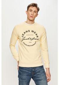 Żółta bluza nierozpinana Jack & Jones casualowa, z nadrukiem, bez kaptura