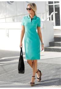 Sukienka shirtowa polo bonprix zielony oceaniczny - ciemnoniebieski. Typ kołnierza: polo. Kolor: zielony. Styl: elegancki