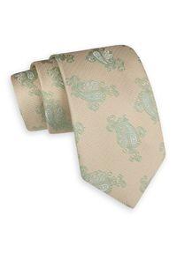 Beżowo-Zielony Szeroki Krawat -Angelo di Monti- 7,5 cm, Męski, Wzór Paisley, Łezki. Kolor: beżowy, brązowy, wielokolorowy. Wzór: paisley. Styl: wizytowy, elegancki
