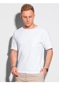 Ombre Clothing - T-shirt męski bawełniany S1386 - biały - XXL. Kolor: biały. Materiał: bawełna