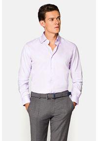 Lancerto - Koszula Fioletowa Lavanda. Kolor: fioletowy. Materiał: bawełna, tkanina. Styl: elegancki