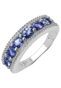 Braccatta - TAYLOR Srebrny pierścionek obrączka tanzanity 1ct.. Materiał: srebrne. Kolor: srebrny. Kamień szlachetny: tanzanit, diament
