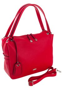 DAVID JONES - Shopper damski czerwony David Jones CM5665A RED. Kolor: czerwony. Materiał: skórzane