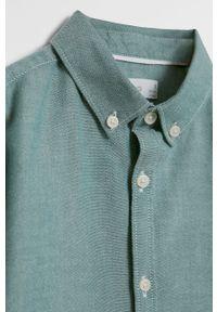Zielona koszula Mango Kids z klasycznym kołnierzykiem, długa, klasyczna