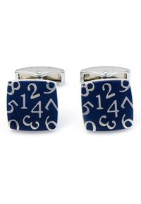 Adam Collection - Granatowe kwadratowe spinki do mankietów - cyfry A150. Kolor: niebieski
