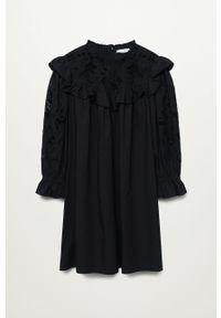 mango - Mango - Sukienka ADELAIDA. Typ kołnierza: kołnierzyk stójkowy. Kolor: czarny. Materiał: bawełna, koronka, materiał. Długość rękawa: długi rękaw. Typ sukienki: rozkloszowane #4