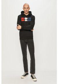 Czarna bluza nierozpinana Jack & Jones z nadrukiem, z kapturem, na co dzień
