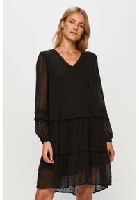 Czarna sukienka Vila casualowa, z długim rękawem, oversize