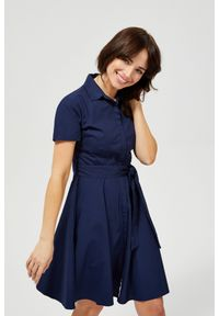 Niebieska sukienka MOODO koszulowa, na co dzień