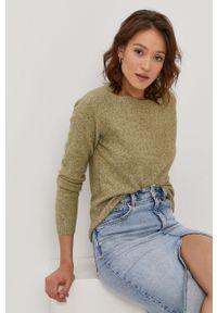 Vero Moda - Sweter. Okazja: na co dzień. Kolor: zielony. Materiał: dzianina. Długość rękawa: raglanowy rękaw. Styl: casual