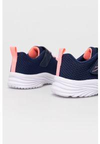 Niebieskie buty sportowe skechers na rzepy, z okrągłym noskiem, z cholewką
