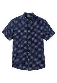 Niebieska koszula bonprix krótka, z nadrukiem