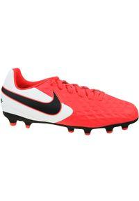 Czerwone buty do piłki nożnej Nike w kolorowe wzory, z cholewką