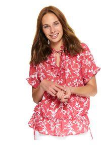 Różowa bluzka TOP SECRET z falbankami