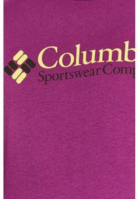 Fioletowy t-shirt columbia casualowy, z okrągłym kołnierzem, z nadrukiem, na co dzień