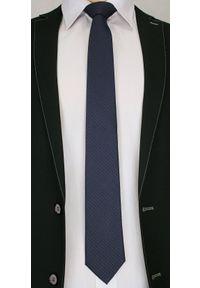 Męski Stylowy Krawat z Brązowym Rzucikiem - Chattier- 6,7cm - Granatowy. Kolor: niebieski, beżowy, brązowy, wielokolorowy. Materiał: tkanina. Styl: elegancki