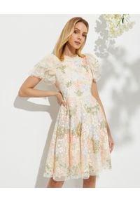 NEEDLE & THREAD - Sukienka mini Elin Blossom. Typ kołnierza: dekolt gorset. Kolor: beżowy. Materiał: tiul, tkanina. Wzór: haft, aplikacja. Typ sukienki: gorsetowe. Długość: mini