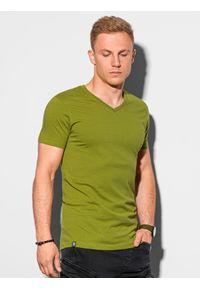 Ombre Clothing - T-shirt męski bawełniany basic S1369 - oliwkowy - XXL. Kolor: oliwkowy. Materiał: bawełna. Styl: klasyczny